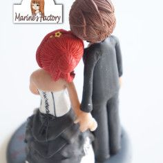 Wedding polymer clay cake topper
