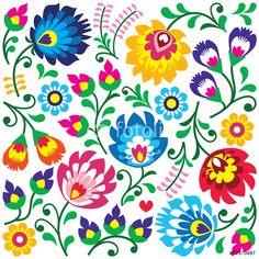 Floral Polish Folk Art Pattern In Square  Wycinanki Wall Sticker