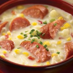 Wonderfully thick and creamy Corn, Potato and Sausage Chowder with Corn Relish