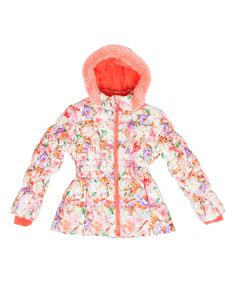Look at this Coral Floral Puffer Coat - Toddler & Girls on #zulily today!