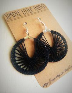 FREE SHIPPING: Crochet Hoop Earrings  Black by SimpleLittleThingss