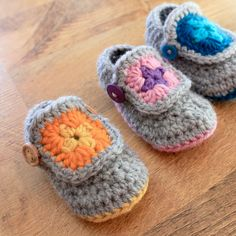 Granny Square Baby Booties