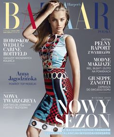 Bold colorful prints to empower a fierce #Versace attitude on the cover of Harper's Bazaar Poland - March '15. Model: Anna Jagodzinska #VersaceEditorials
