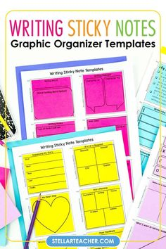 Are you looking to effectively use ALL those sticky notes you have?  These writing sticky notes graphic organizer is the perfect way to utilize them!  These easy to print sticky note templates can be used in a variety of ways to teach writing skills and strategies!  Includes 38 stop and jot writing templates to help you get independent writing projects started! Teaching Writing, Writing Skills, Teaching Ideas, Notes Template, Templates, Writing Graphic Organizers, Story Planning, Character Words, Story Sequencing