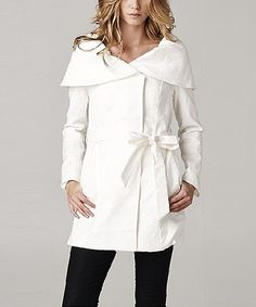 Look what I found on #zulily! Neslay Paris Ivory Wrap Coat by Neslay Paris #zulilyfinds