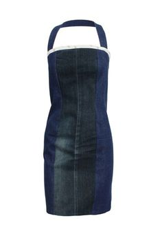 When I cut off a jean pant leg, I could make a dress from the scraps. Maybe bleach and dye one color. Make it open in the back and a skirt type back.