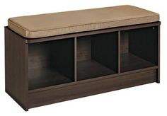 Closetmaid 3 Cube Expresso Storage Bench by Closetmaid Cube. $101.94. storage bench. durable seating. Fabric Drawer storage. Sturdy particle board bench. 3-Cube versatile bench. **Espresso Finish**This Cubeicals® 3-Cube versatile bench is a great storage organizer for entryways, mudrooms or any room in the house and features a durable seating option. Sturdy particle board bench has 3 cubbies for Cubeicals® Fabric Drawer storage. Frame Material: Wood Laminate ...