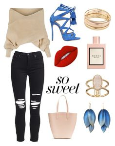 """""""Untitled #13"""" by andela-balazova on Polyvore featuring WithChic, AMIRI, Alexander McQueen, Dsquared2, Mudd, Kendra Scott, Lime Crime, Gucci and pastelsweaters"""
