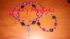 Pink and Black Beaded Skull Necklace and Bracelet Set - Key Charm by LunasMagicks on Etsy