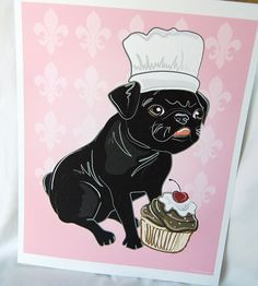Cupcake Black Pug  8x10 Ecofriendly Print by AfricanGrey on Etsy, $16.00