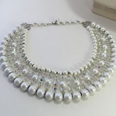 Bridal Wedding Necklace Choker Crystal Pearls Beads by ravished