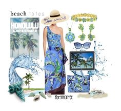 """Wish you were here!"" by florymcintee on Polyvore featuring Emilio Pucci, Eugenia Kim, Fendi, Americanflat, IMAX Corporation, 1928 and beachtotes"
