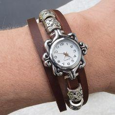 Womens leather watch bracelet