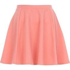 River Island Coral skater skirt ($15) ❤ liked on Polyvore featuring skirts, bottoms, saias, faldas, sale, circle skirt, red skater skirt, panel skirt, red knee length skirt и pastel skater skirt