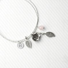 Personalised English Rose Bracelet With Rose Quartz Stones Quartz Stone, Rose Quartz, Personalized Necklace, Gifts For Her, Women Jewelry, Gemstones, Bracelets, Necklaces, Sterling Silver