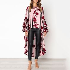 Stylish Round Neck Asymmetric Hem Floral Print T-Shirt blouses for women chic blouses for women casual blouses outfit cute blouses blouses for women work business casual Mode Chic, Mode Style, Cute Blouses, Blouses For Women, Party Blouses, Holiday Outfits Women, Shirt Bluse, Maxi Robes, Fashion Outfits