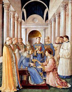 Fra Angelico - Renaissance - La Chapelle Niccoline - Saint Laurent ordonné diacre par Saint Sixte.