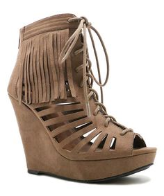efb02e819 Taupe Glory Cutout Wedge Sandal  zulilyfinds Lace Up