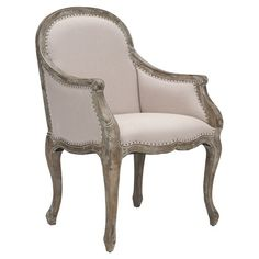 Showcasing an elegant linen-upholstered seat and oak wood cabriole legs, this lovely arm chair is a chic addition to your living room or parlor. ...