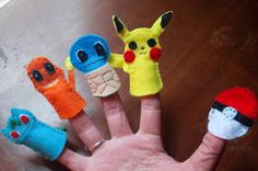 Items similar to Felt Pokemon Finger Puppet Set - First Generation Starter Pokemon on Etsy Felt Puppets, Felt Finger Puppets, Hand Puppets, Pokemon Birthday, Pokemon Party, Cute Crafts, Felt Crafts, Sewing Crafts, Sewing Projects