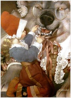 """gennady spirin   A very dynamic """"what big teeth you have!"""""""