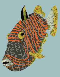 Vintage Map and Scrapbook Fish Fish Collage, Paper Collage Art, Painting Collage, Map Collage, Encaustic Painting, Koi, Fish Illustration, Tinta China, Fish Art