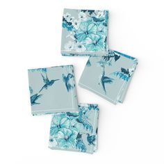Meet the Frizzle cloth cocktail napkin set of 4 adorable Aqua, Teal, Turquoise, Cocktail Napkins, Napkins Set, Top Stitching, Natural Texture, Tiffany Blue, Floral Tie