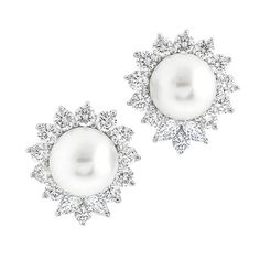 Tiffany & Co. Pearl Diamond Platinum Earrings | From a unique collection of vintage more earrings at https://www.1stdibs.com/jewelry/earrings/more-earrings/