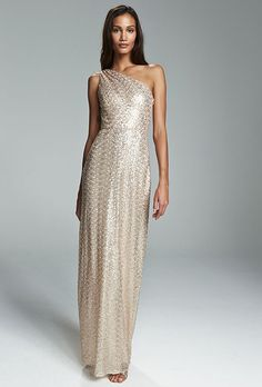 """""""Leona"""" rose gold sequined dress, price upon request, Amsale"""