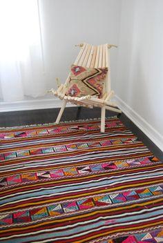 pioneer chair, wood chair, rug, textile, kilim