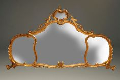 19th century Italian hand carved and gilded wood mirror for over a mantle, console or sideboard, circa 1890. #antique #mirror