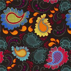 black Michael Miller fabric with ornaments Paisley  beautiful fabric from the USA with many colourful ornaments & Paisley pattern