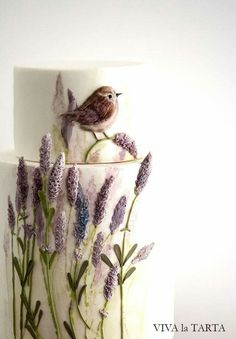 Cake with bird and lavender