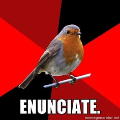 "[Image Description: Background is several triangles in a circle like a pie alternating from true red, scarlet and black. A robin is sitting on his perch looking to the right.Top Text: blankBottom Text: ""ENUNCIATE""]  I can't stress this enough. I can't help you if you don't know what you're saying."