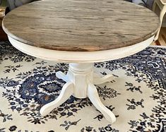 Dining Table Makeover, Pine Dining Table, Dinning Room Tables, Trestle Dining Tables, Dining Table In Kitchen, Round Farmhouse Table, Rustic Farmhouse, Rustic Round Dining Table, Round Tables