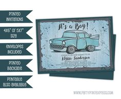 Vintage Car Baby Shower Invitations  Retro Truck Baby Shower