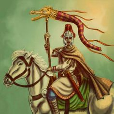"""Romano-British cavalry, 5th-6th Century AD.""""Arthurian era horseman, carrying the Draco banner from which the Pendragon took their name(Dragon-head)"""" by Popius(http://popius.deviantart.com/) ~Amelianvs"""