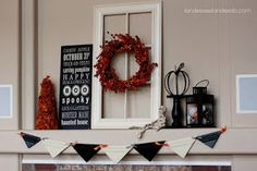 halloween mantle - loving it!!!!  I love decorating for Halloween!
