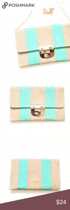 Patent Leather Striped Clutch NWT. Mint/tan Patent Leather Striped Clutch w/ Strap. Slight discoloration on front of clutch--pictured. Brand: unknown. Listed for exposure. ASOS Bags Clutches & Wristlets