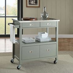The Sydney Kitchen Cart is the perfect way to add extra counter and storage space in your kitchen. This cart has a convenient towel holder on the side and features a stainless steel top, spacious cabinet area, 2 drawers, and a shelf. Small Kitchen Cart, Kitchen Carts On Wheels, Kitchen Counter Storage, Portable Kitchen Island, Rolling Kitchen Island, Kitchen Island Cart, Modern Kitchen Island, Kitchen Islands, Kitchen Island With Wheels