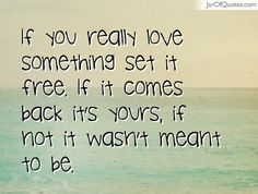 If you really love something set it free. If it comes back it's yours, if not it wasn't meant to be.