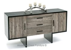 Modern Rustic Console by Woodland Creek Furniture.  Available in custom sizes & finishes.