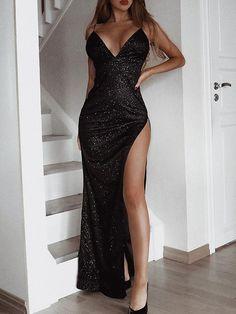 2019 Backless Sequin High Slit Evening Dress ,Black Prom Dress with Slit - Prom Dresses Design Black Prom Dresses, Ball Dresses, Elegant Dresses, Pretty Dresses, Sexy Dresses, Beautiful Dresses, Evening Dresses, Dress Black, Sequin Prom Dresses