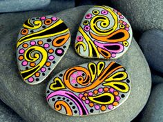 Happy Hippie Rock Magnets / set of 3 /Sandi Pike Foundas / Cape Cod. $34.00, via Etsy.