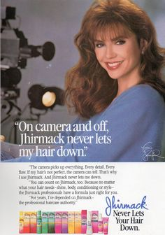 I want you guys to know that EVERY Throwback Thursday, I look long and hard for the iconic Jhirmack bounce back beautiful hair commercial. The one where I really decided body is what my hair needs … 80s Ads, Retro Ads, Vintage Advertisements, Vintage Ads, 1980s, Vintage Items, Loves Baby Soft, Victoria Principal, Lowboy
