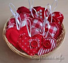 Valentine's Day Craft - Fabric Country Hearts Ornaments