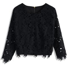 Chicwish Flipped Flower Crochet Crop Top in Black featuring polyvore, fashion, clothing, tops, blouses, shirts, crop top, black, black top, crop shirts, cut out sleeve shirt and black crop top