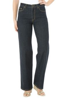 Plus Size 5-pocket wide leg stretch jeans in denim and twill ...