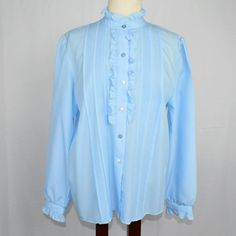 4cb681a712 VTG Vicki Wayne Womens 12 Top Relaxed Ruffles Button Front LS Secretary  Blue  CroftBarrow  Blouse  Career