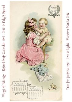 Wings of Whimsy: Resinol Soap Calendar 1905-2017 & Baby's Record #freebie #printable #vintage #ephemera #calendar